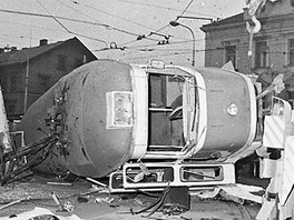 Nehoda tramvaje T1 17. února 1982 na Špejcharu.