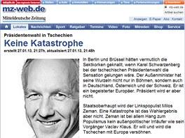 Komentáře ke zvolení Miloše Zemana českým prezidentem na webu Mitteldeutschen
