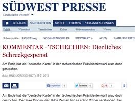 Komentář ke zvolení Miloše Zemana českým prezidentem na webu Südwest Presse