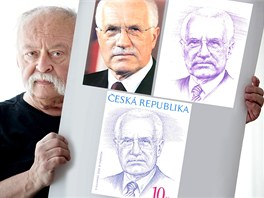 Předlohou pro známku s prezidentem Klausem byla pro grafika Oldřicha Kulhánka