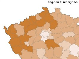 Úspěšnost kandidáta Jana Fischera v jednotlivých okresech při prvním kole