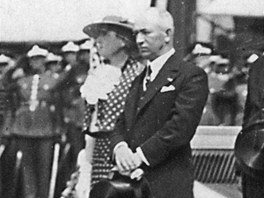Prezident Edvard Bene� na n�v�t�v� v Plzni v roce 1936.