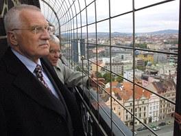 Prezident Václav Klaus v Plzni v roce 2003. Tehdy v kraji pobyl tři dny.
