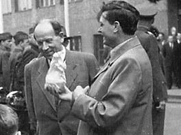 Prezident Anton�n Z�potock� v Plzni v roce 1956.