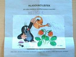 První kolo prezidentských voleb. Hlasovací lístek přelepený obrázkem Krtečka.