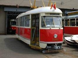 Funkční originál typu T1 ve vozovně ve Střešovicích.