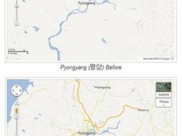 Mapa Koreje před zmenou a poté