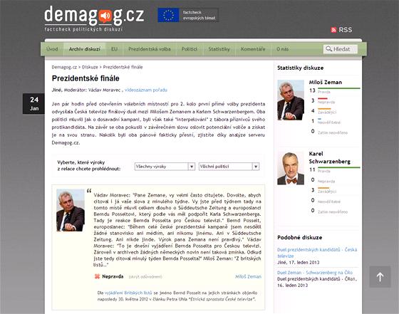 V Česku funguje podobný projekt - Demagog.cz