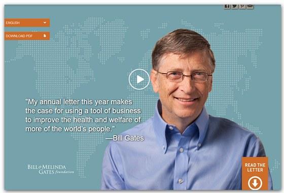 Odkaz na zpravodaj Nadace Billa a Melindy Gatesových na stránkách