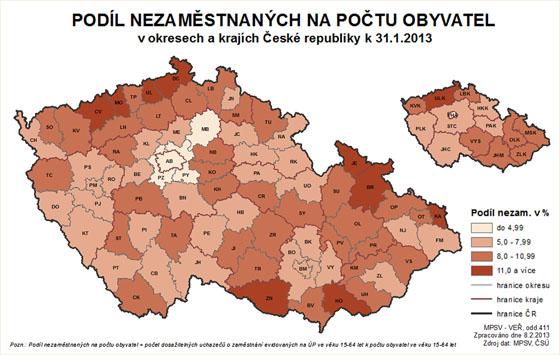 Podíl nezaměstnaných v ČR na počtu obyvatel