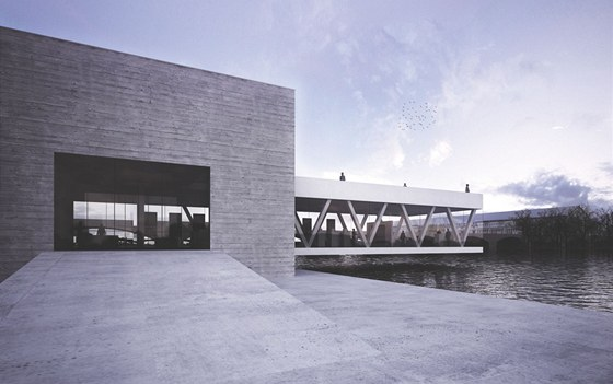 Výrazově minimalistické řešení stavby nabízí vykonzolovanou vyhlídku nad