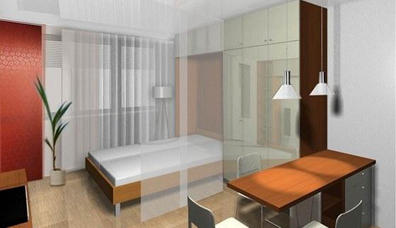 Vizualizace: interiér obytné části - postel po sklopení