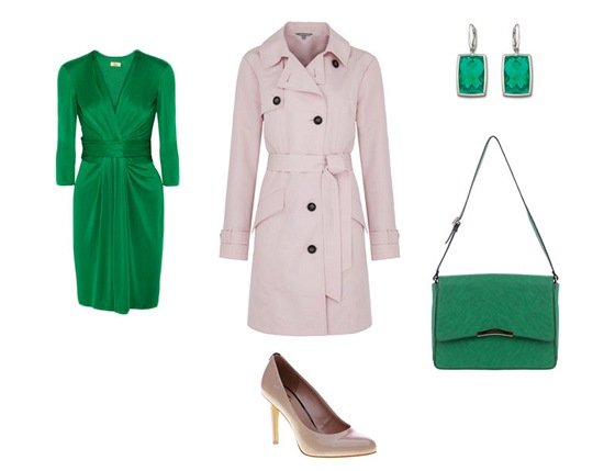 Smargodové šaty, Issa London; světlý kabát, Marks&Spencer; tělové lodičky,...