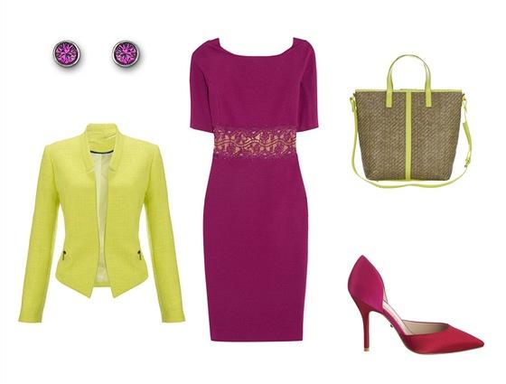 Žerzejové šaty s krajkovou vsadkou, Emilio Pucci, prodává Obsession; neonové...