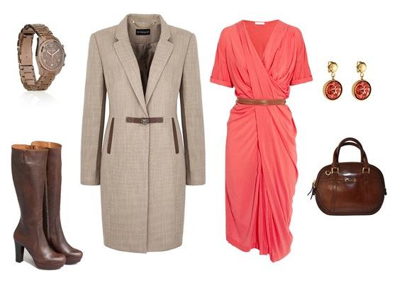 Řasené šaty, Donna Karan; kabát s koženými detaily, Marks&Spencer; hodinky,