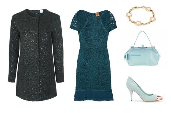 Hedvábné šaty s krajkou, Tory Burch; černý kabát s leskem, La Redoute; mátové