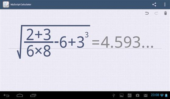 Aplikace MyScript Calculator spočítá vzorce nebo třeba i rovnice zapsané do