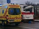 V Brně-Slatině se srazily dva autobusy (5. února 2013).