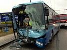 V Brně-Slatině se srazily dva autobusy MHD (5. února 2013)