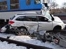 Tragick� nehoda na �elezni�n�m p�ejezdu v Ostrav�-T�ebovic�ch, p�i kter�