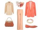 Meruňkové kalhoty, Tara Jarmon, prodává Dušní3; broskové sako, Marks&Spencer;