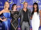 Karolína Kurková, Coco Rocha, Nigel Barker a Naomi Campbellová na premiéře