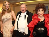 Mira Sorvino, Richard Lugner a Gina Lollobrigida na vídeňském Plese v opeře (7.