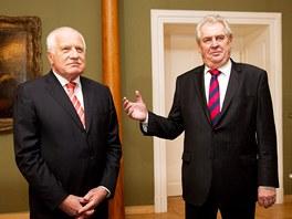Václav Klaus přijal na Pražském hradě svého nástupce Miloše Zemana. (5. února