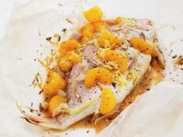 Ryba v papillotě s mandarinkami a citronovou trávou