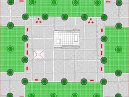 Druhá, ryze pravoúhlá varianta počítá s větší plochou zeleně, je tak pradoxně