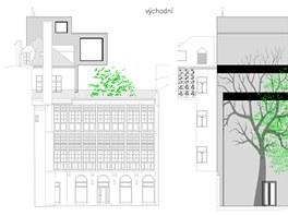 Návrh na 2. místě  vtipně využívá malou nezastavěnou parcelu vTemplové ulici,