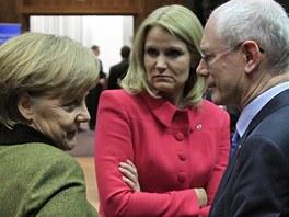 N�meck� kancl��ka Angela Merkelov� v rozhovoru s prezidentem EU Hermanem Van