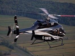 Bell 429 má díky nůžkovému uspořádání listů ocasní vrtulky nižší hladinu hluku.