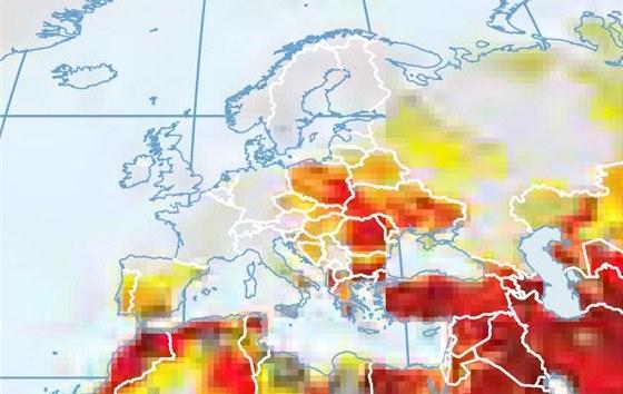 Mapa oblast�, kter�m hroz� vyschnut�. ��m tmav�� barva, t�m v�n�ji je oblast