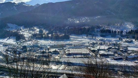 Pohled na stadion v Lago di Tesero
