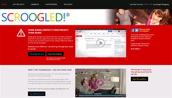 Stránka Scroogled.com, kde Microsoft upozorňuje na cílené reklamy Gmailu