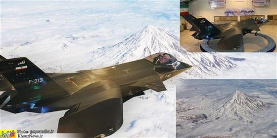 """Koláž """"íránské stíhačky"""" v akci. Vpravo nahoře je zdrojová fotka z MashreghNews.ir, dole fotka z PickyWallpapers.com."""