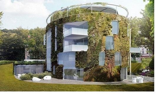 Vizualizace: pohled na rezidenci Bubeneč Gardens ze zahrady.