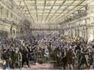 Členové americké Sněmovny reprezentantů na obrázku slaví schválení 13. dodatku