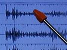 Detail z�znamu z japonsk�ho seismometru (12. �nora 2013)