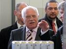 Prezident Václav Klaus přijel do Českých Budějovic. Návštěvu zahájil v