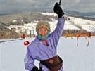 Devadesátiletá Vlasta Giese lyžuje ve skiareálu Herlíkovice - Bubákov (7. 2.