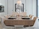 Stůl v jídelně je vykonzolovaný, kryje jej mořená dýha s prkennou skladbou.