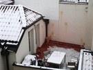 Hotel v Karlově ulici v centru Prahy utrpěl zejména zvenčí. Vajíčková bitka