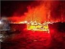 V České Vsi na Jesenicku v noci shořely dřevěné budovy místního ranče s