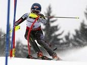 Američanka Mikaela Shiffrinová si jede pro zlatou medaili.