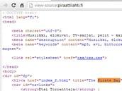Zdrojový kód stránky Piraattlahti s vyznačenými textem na pohled zjevně