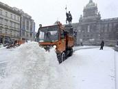 Husté sněžení zasáhlo 12. února také centrum Prahy.