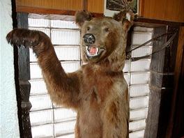 A takto děsí turisty při vstupu do hospody vycpaný medvěd.