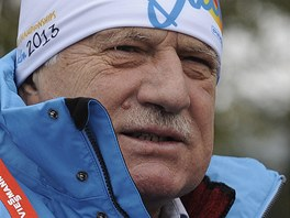 Prezident Václav Klaus na biatlonovém mistrovství světa v Novém Městě na Moravě